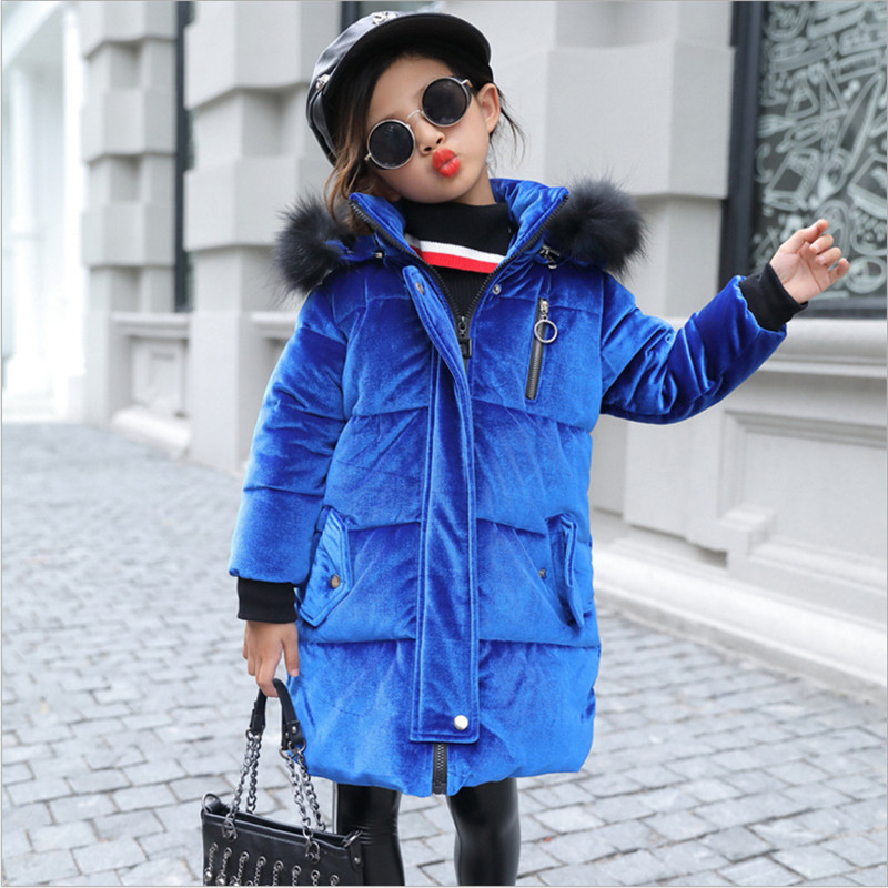 где купить Girls Winter Coat Volour Parkas Wadded Jacket 2017 New Fashion Big Fur Collar Cotton Jackets Outerwear 120-160 High Quality дешево