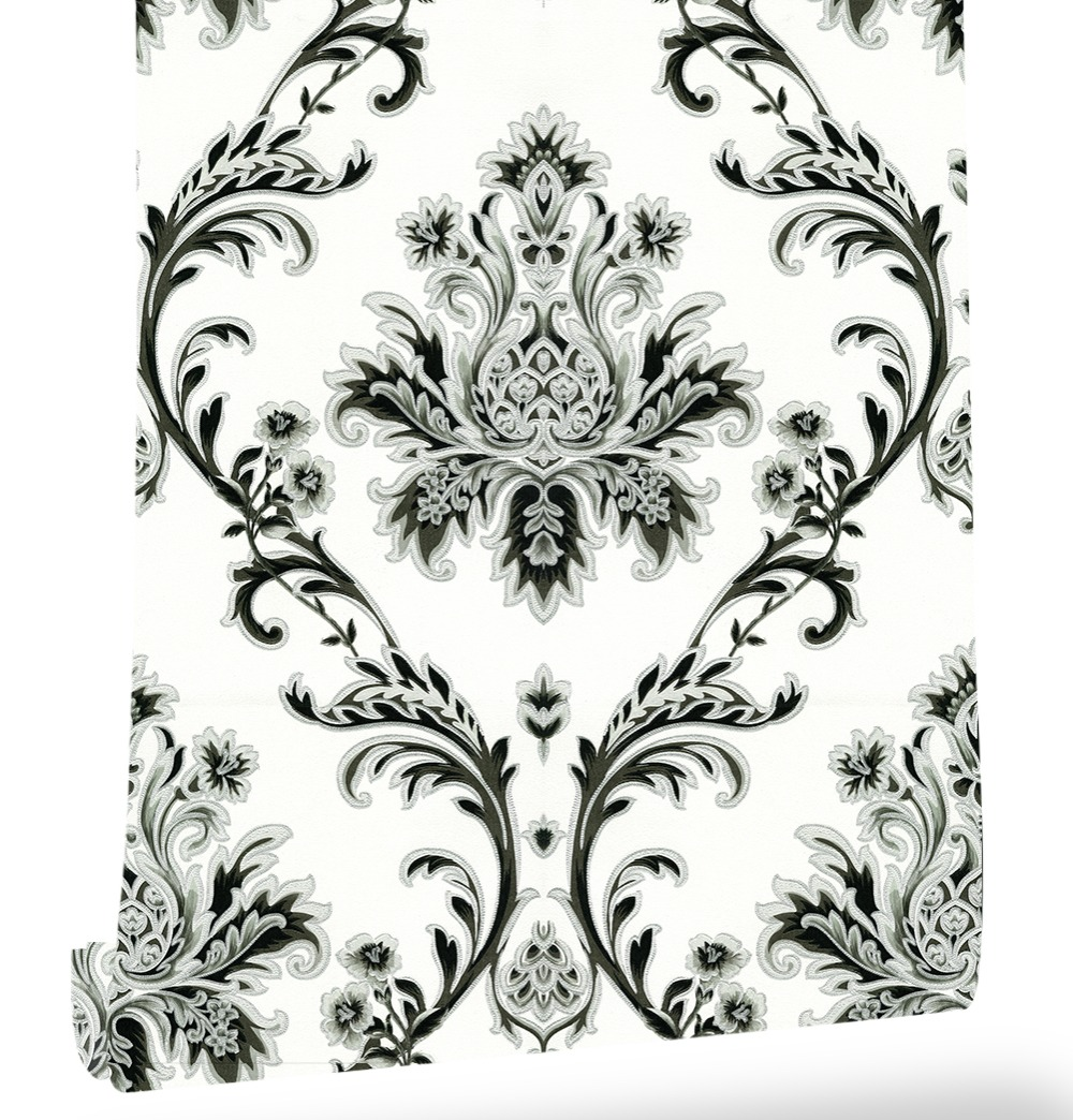 Haokhome European Floral Damask PVC Wallpaper Roll Off White/Black/Silver/Brown Textured Living room bedroom home art decoration