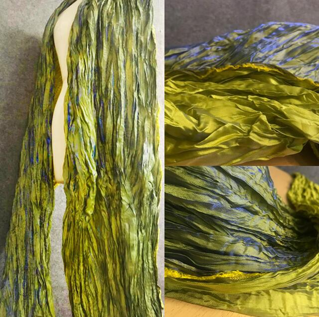 Grenn Gradual twin-color woven double-knot polyester fabric dress pleated Vintage chemical fiber textiles fabric C199