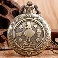 Классический Алиса в Стране Чудес Кролик Цветок Карманные Часы Ожерелье Женщины Дамы Горячая Кварц Ретро Бронзовые Цепи Моды Подарок