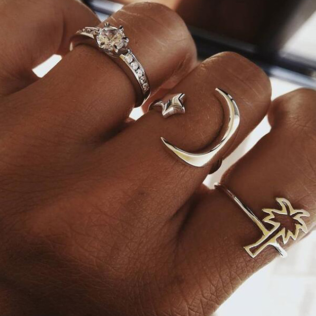 HuaTang Bohemian Antique Silver Ring Geometric Elephant Flower Green Rhinestone Knuckle Rings Midi Finger Anel Rings Jewelry 38