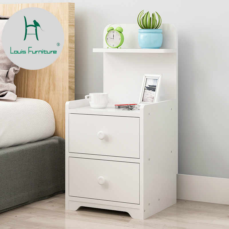 Louis Fashion Simple Cabinet Modern Bedroom Bedside European Imitation Wood Storage Small