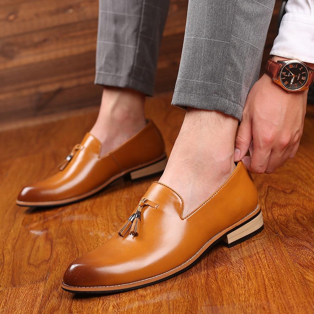 2019 Size 38-48 Men Dress Shoes Oxford Elegant Luxury Social Wedding Designer Male Formal Shoes #SY-R8508