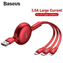 Baseus 120cm 3 in 1 USB Charger Cable for iPhone X 8 7 6 Micro USB Type-C Cable 3.5A Fast Charging Retractable Cable for Samsung