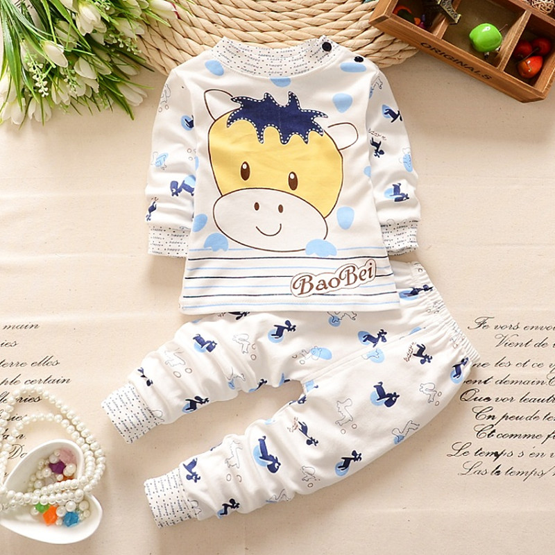 Fashion kids Spring Autumn clothing sets Children T-shirt+ pant boys girls warmly cow cartoon patterns tops sleep clothes sets sleep professor spring love