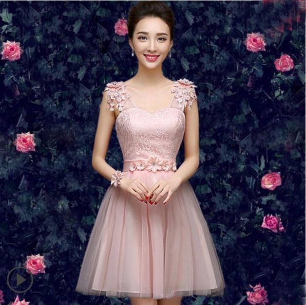 76292fe4d Corto rosa claro de la correa de espagueti de dama de honor vestidos de  fiesta de encaje patrón para invitados de boda adolescentes estilo  diferente S2735 ...