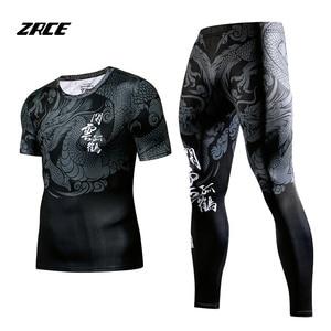 ZRCE Rashgard قصيرة الأكمام اللياقة البدنية الجوارب رياضية مجموعة 2 قطعة مجموعة ضغط مجموعة الرجال الرياضية