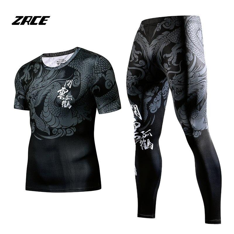 ZRCE Rashgard Manches Courtes Fitness Collants Survêtement Ensemble 2 pièce Ensemble De Compression Ensemble hommes de sport
