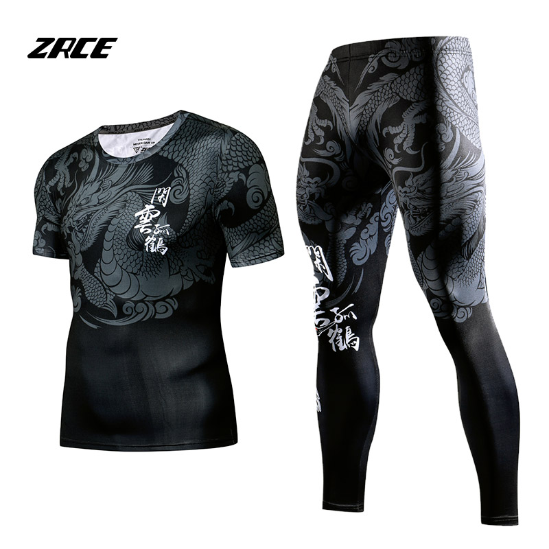 ZRCE Rashgard Short Sleeves Fitness Tights Tracksuit Set 2 Piece Set Compression Set  Men's Sportswear