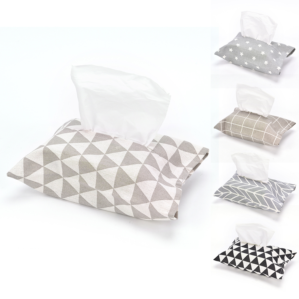 Cotton Fabric Tissue Box Cover Paper Napkin Holder Storage Bag Case Home Car