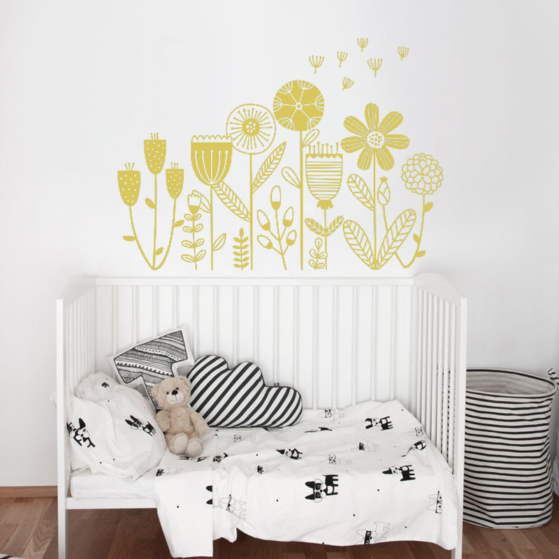 Designstickers Flower Wall Stickers For Kids Floral Garden Wall Decals For Girls Room Removable Toddlers Bedroom Vinyl Nursery Wall D