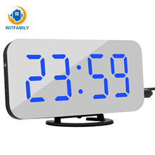 Led Voice Control Grote Wekker Groot Aantal Display Nixie Elektronische Snooze Backlinght Desktop Digitale Tafel Klokken Horloge
