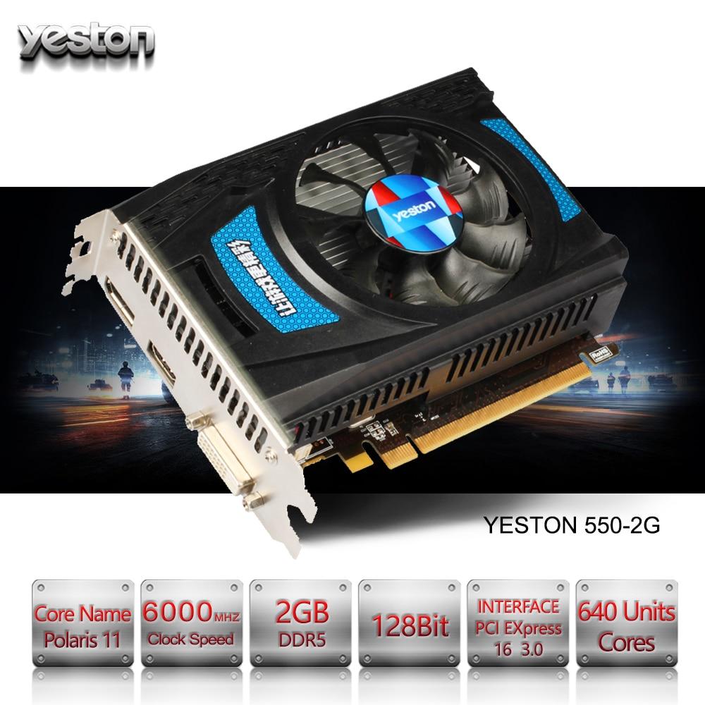 Yeston Radeon RX 550 GPU 2 GB GDDR5 128bit Jeu ordinateur de bureau PC Vidéo cartes graphiques soutien DVI-D/HDMI PCI-E 3.0
