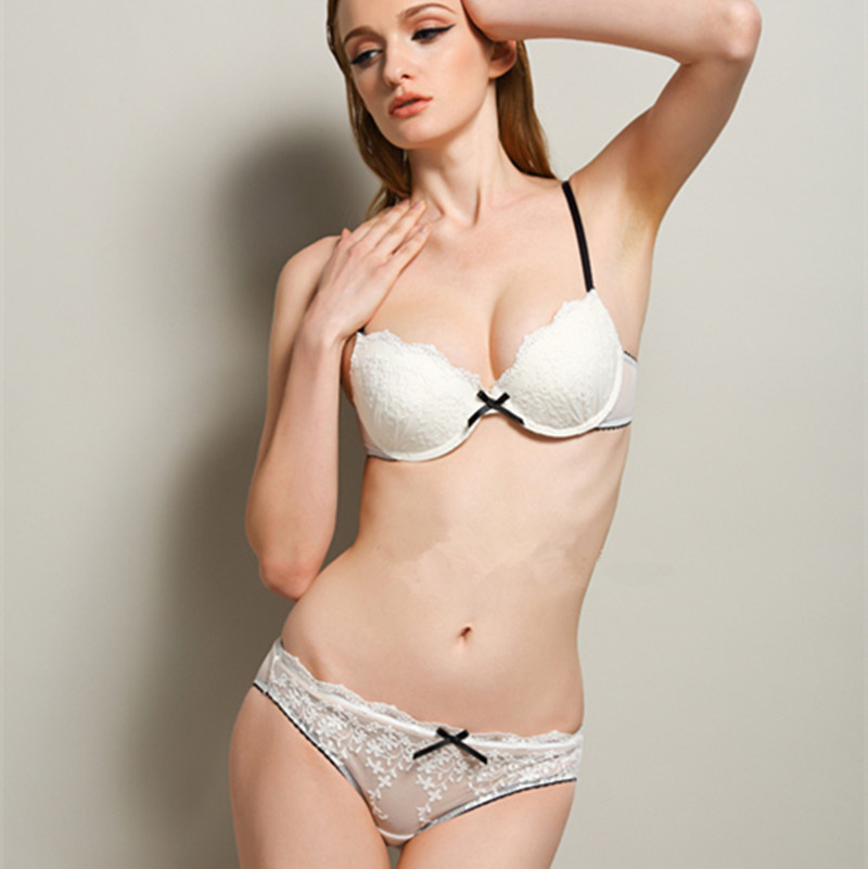 0f76412075 S103 Comfortable Floral Lace Embroidery Bowknot Sexy Bra and Panty Set  Women s Underwear Lingerie White Pink