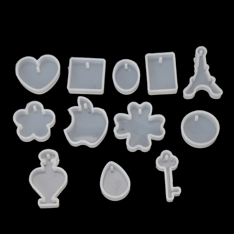 Free Shipping 12pcs Silicone Jewelry Mold Resin Making Pendants Necklace Bracelet Earrings DIY