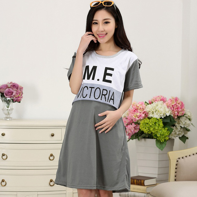 Maternity Wear Clothing Cotton Breastfeeding Nursing Clothes Letter Print Casual Dress Pregnancy Clothes for Pregnant Women