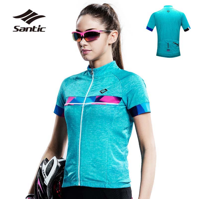 Santic Summer Cycling Jersey Women Maillot Ciclismo Short Sleeve Quick Dry Road Mountain Bike Jersey Bicycle Clothing 2XL