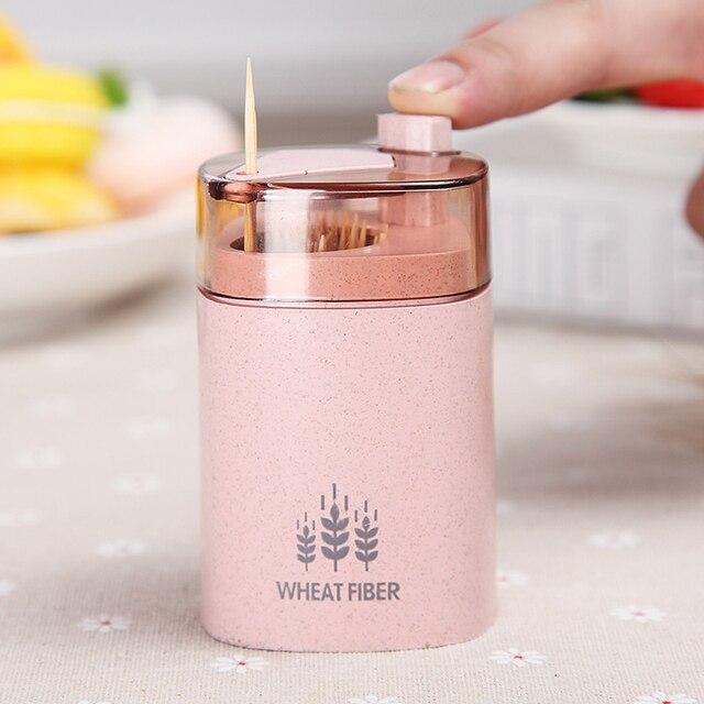 Автоматическая подставка для Зубочисток контейнер Пшеничная солома Бытовая настольная коробка для хранения Диспенсер несколько цветов в форме сердца или квадрат