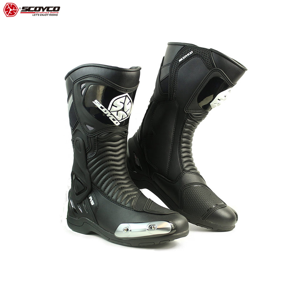 SCOYCO Motorcycle Riding Boots High Ankle Anti-skip Shockproof Racing Speed Boot Metal slide ATV/MTB/MX Safety Motor Shoes MR001
