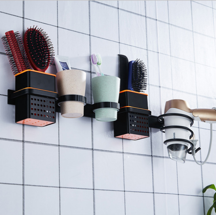 Hair Dryer Holders Bathroom Shelves Rack Double Cup Toothbrush Holder Comb Storage Washroom Accessories