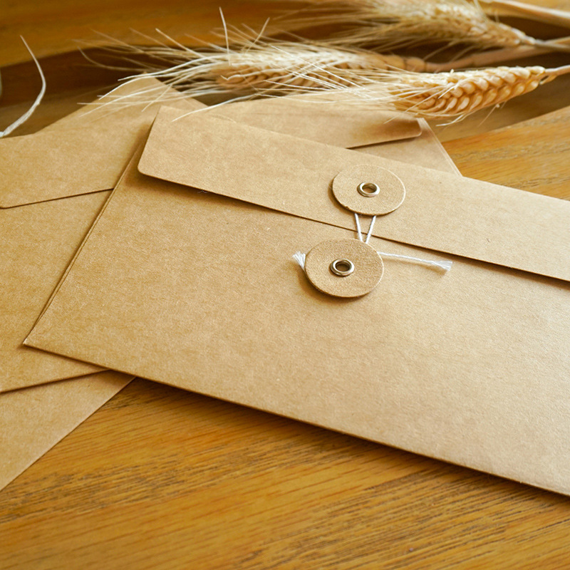 Image 5 - 50pieces/set of vintage buckled kraft paper blank paper window envelope wedding invitation envelope/gift envelope/thick postcard-in Paper Envelopes from Office & School Supplies