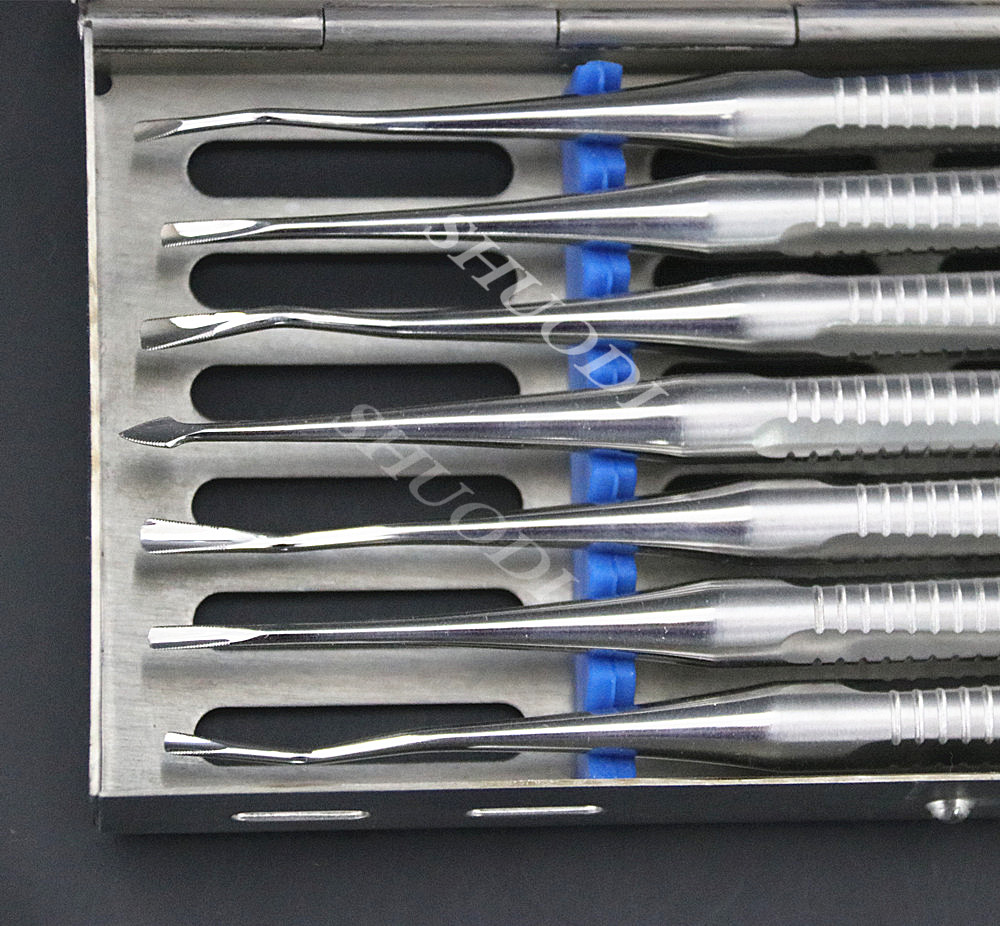 7pcs/Set Dental Loose Tooth Extraction Luxation With Sterilization Cassette Box Dental Tooth Elevator Dentist Surgical Tool