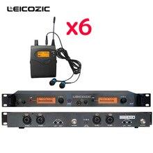 Leicozic профессиональные UHF беспроводные наушники-вкладыши система монитора 6 шт. приемники в ухо монитор IEM система сценический монитор