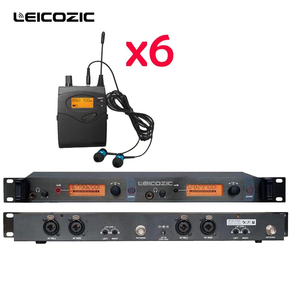 Leicozic Professionnel UHF Sans Fil In-Ear Casque Moniteur Système 6 pcs récepteurs Dans L'oreille Moniteur IEM Système la Surveillance de Stade