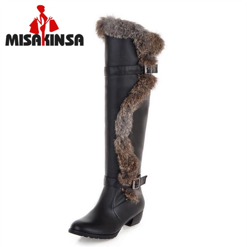 Women Over Knee Boots Flats Boots Riding Fashion Long Boot Fur Warm Winter Thickened Fur Snow Footwear Shoes Size 34-43 K00584