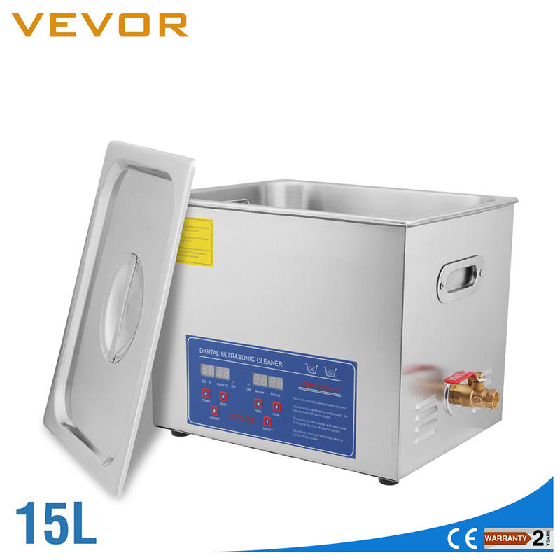 US STOCK Ultrasonic Cleaner 15L Large Commercial Ultrasonic Cleaner Stainless Steel Ultrasonic Cleaner