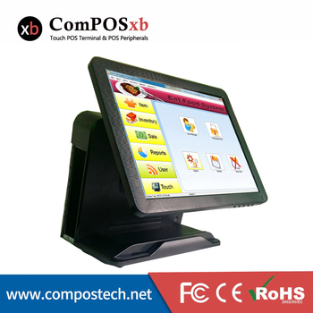 "15"" China OEM High Definition Factory Electronic POS System  All-in-one Touchscreen Epos POS Machine Black Color"