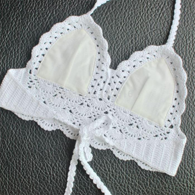 Caliente mujeres Sexy Crochet relleno Bralette Bralet Bra Bustier ...
