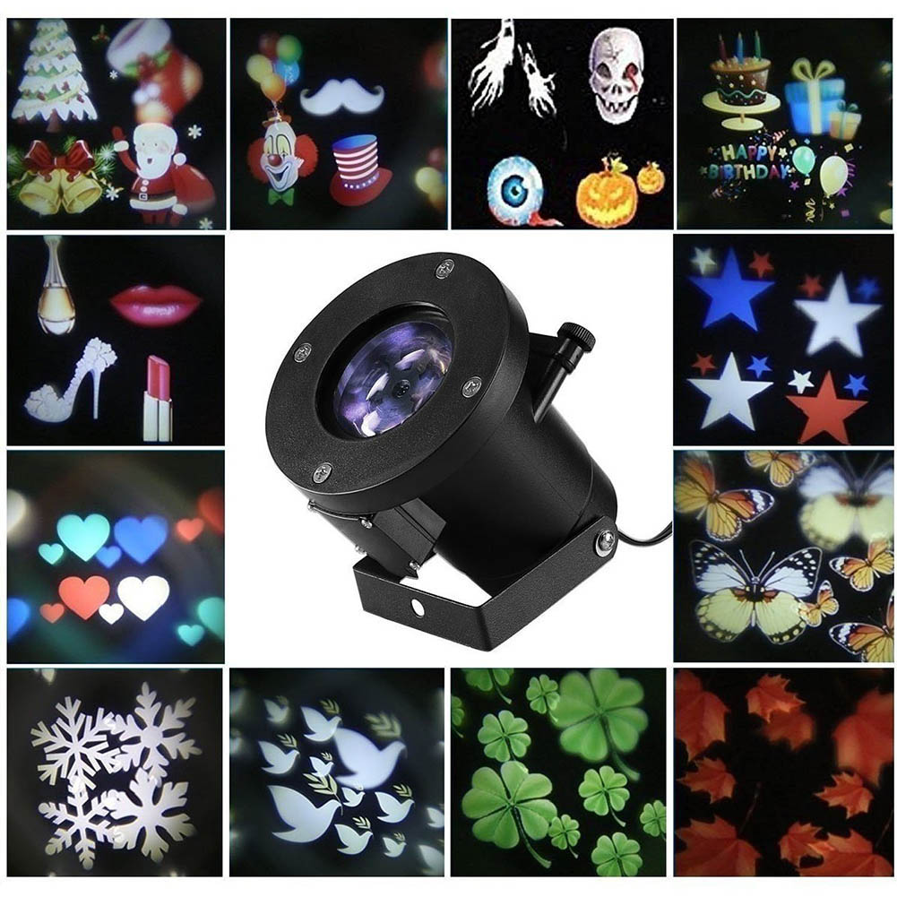 Christmas Halloween Projection LED 12 Pattern Landscape Projection Spotlight Outdoor And Indoor Holiday Decor Lamp Hot