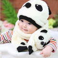 2016 Super Cute And Warm Wool Panda Cap Match Scarves Kids Set Cartoon Beanies Hat With Baby Scarf