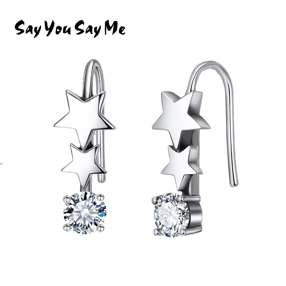Say You Say Me 925 Sterling Silver Star Earrings Wholesale Retro Romantic White Zircon Earrings Best Gifts 2018 New Arrival