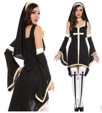 FREE SHIPPING Sexy PU Leather Black Nuns Costume Halloween Nurse Witch Suit Masquerade Role-playing Ghost Uniforms