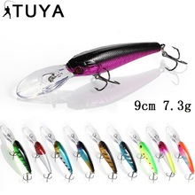 TUYA 1pcs big Wobblers Minnow Fishing Lure Floating Wobbler Trolling Artificial Bait twitch Hard Lure Carp bass 9cm 7.3g