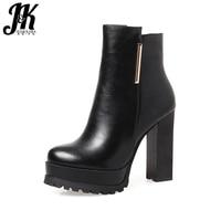 JK 2018 Big Size 33 43 High Quality Ankle Boots Women Elegant Metal High Heels Shoes Woman Platform Winter Boots Zipper New