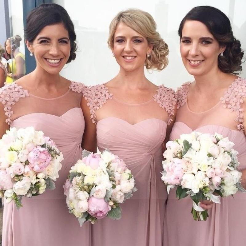 Largo de dama de honor vestidos de escote redondo de la gasa de playa rosa rosa