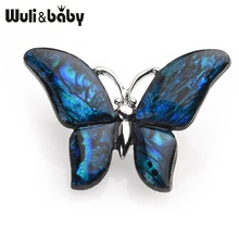 Wuli&baby Blue Abalone Shell Butterfly Brooches For Women And Men Alloy Insects Animal Wedding Banquet Gifts