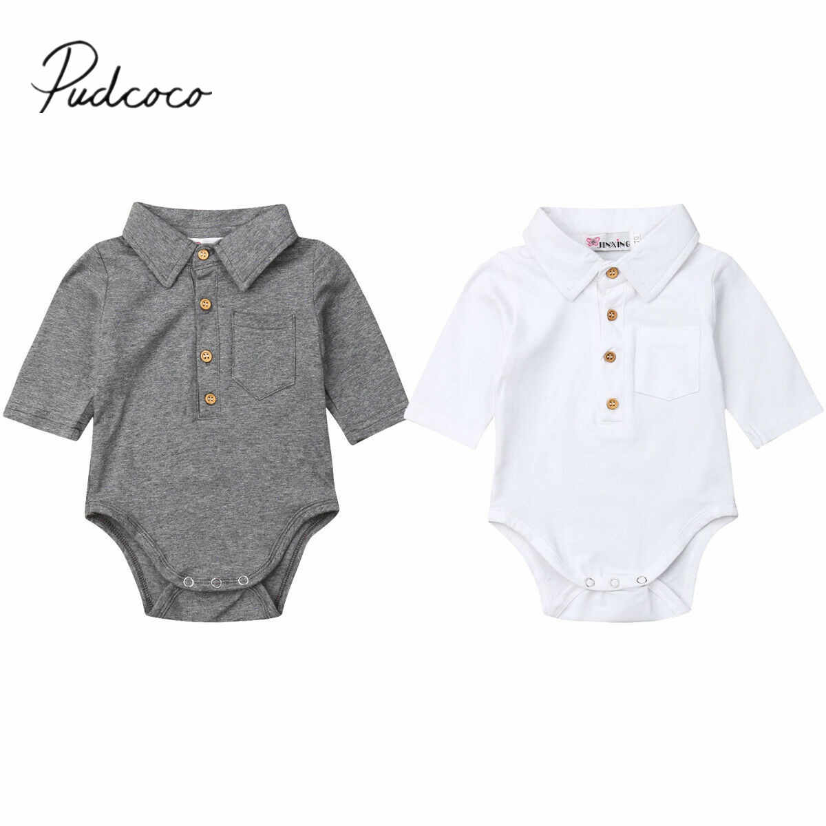2019 Baby Summer Clothing Infant Baby Boy Gentleman Solid Formal Bodysuit Short Sleeve Turn Down Collar Shirts Jumpsuit Set