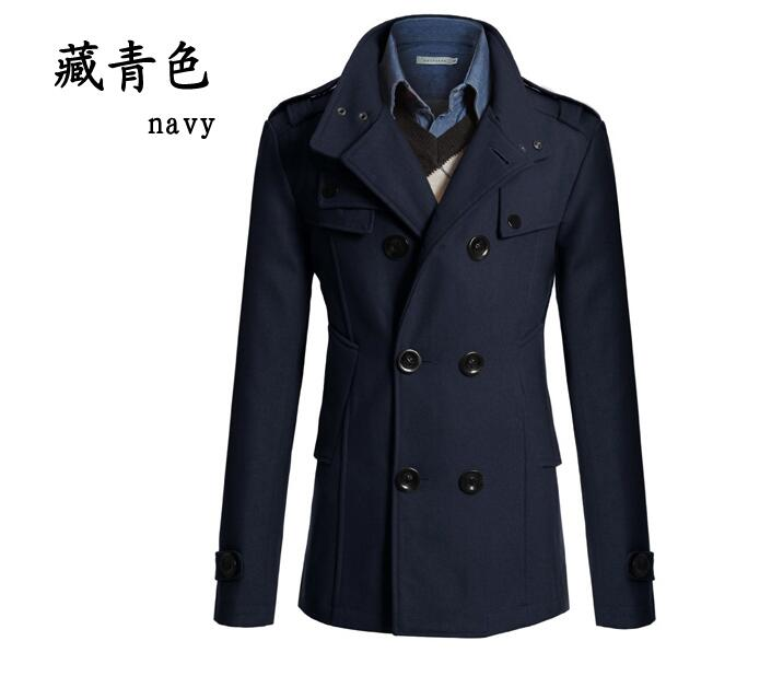 Men stylish winter coats men woolen blends Slim fit men's warm ...