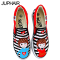 JUP Men Female Student Girls Couples Black White  Monkey Mouse Cat Fish Fox  Heighten Hand Painted Graffiti Canvas Fashion Shoes