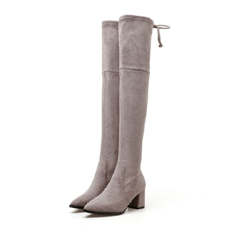 2018 autumn and winter new skinny boots wild suede skinny legs high heel over the knee stretch boots gray 01102018 autumn and winter new skinny boots wild suede skinny legs high heel over the knee stretch boots gray 0110