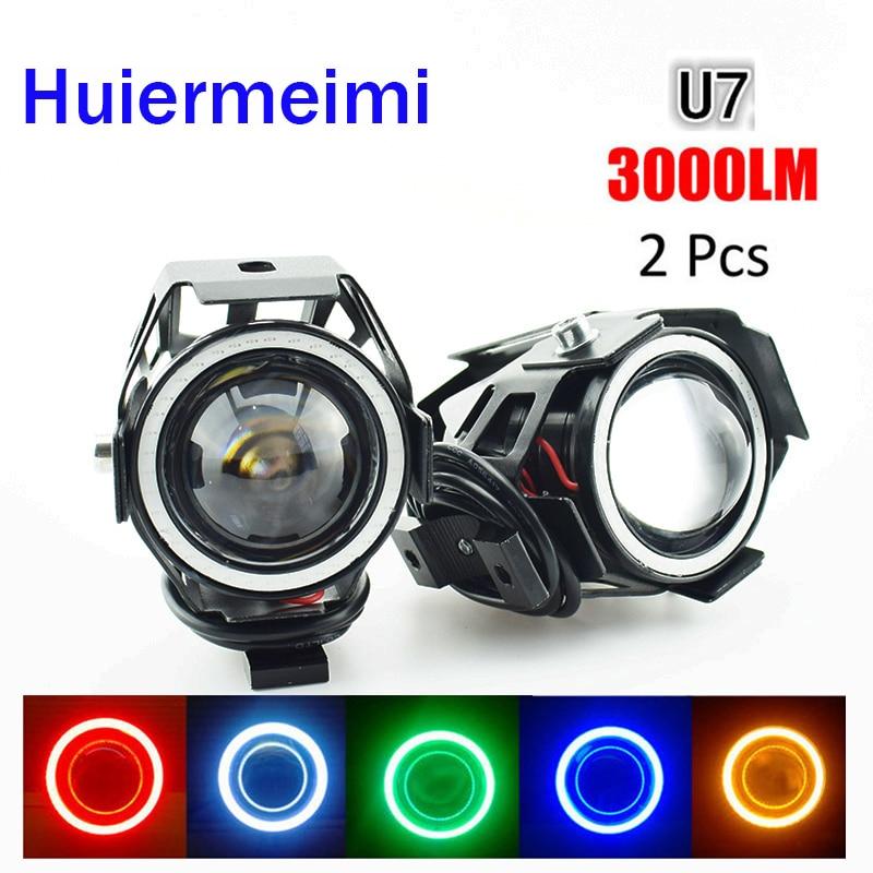 Home Learned Huiermeimi 2pcs 125w Motorcycle Headlight Spotlight 3000lm Moto 12v U7 Led Driving Fog Head Spot Light Motorbike Decorative Lamp