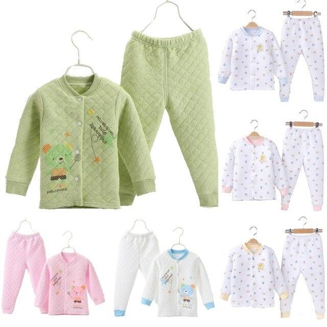 b4cbf83473 3 Layers Winter Baby Boys Pajamas Clothes Suit 100% Cotton Newborn  Sleepwear Thick Kids Nightgown Long Sweater Cardigan Trouser