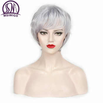 MSIWIGS Straight Short Wig for Elder Women Silver White Grey Synthetic Wigs with Bangs Natural Brown Ombre Hair Wig - DISCOUNT ITEM  42% OFF All Category