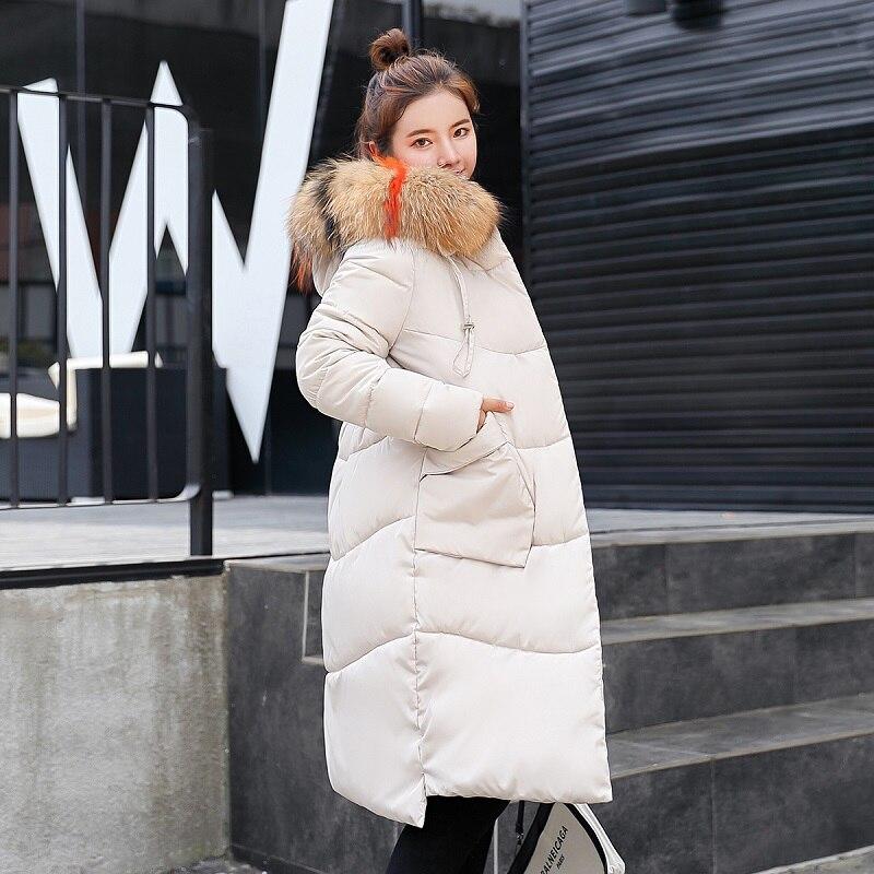 Nouveau Col Grand Manteau white Casaco armygreen Mujer De red Femmes Black Mode Wome gray Fourrure Blue Et 2018 dark Mince Veste Abrigos Long D'hiver Feminino caramel Colour Invierno Épais Plus Coréen wqvPStXH