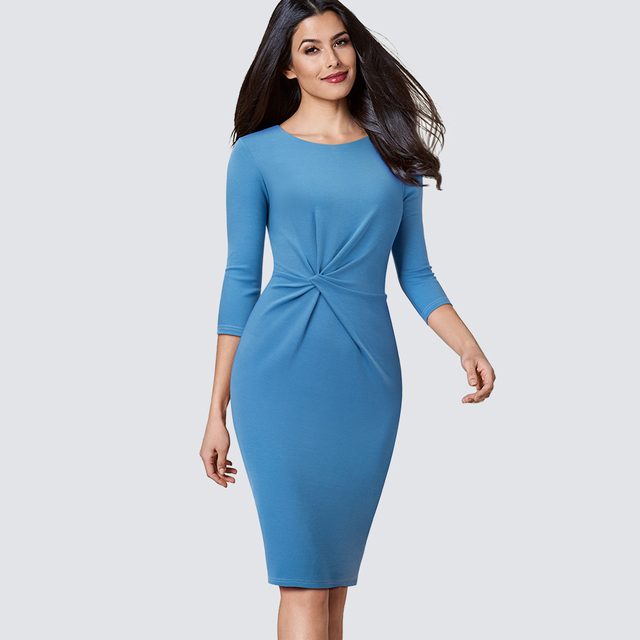 Elegant Work Business Sheath Pencil Office Lady Fancy Autumn Bodycon Formal Career Dress HB476