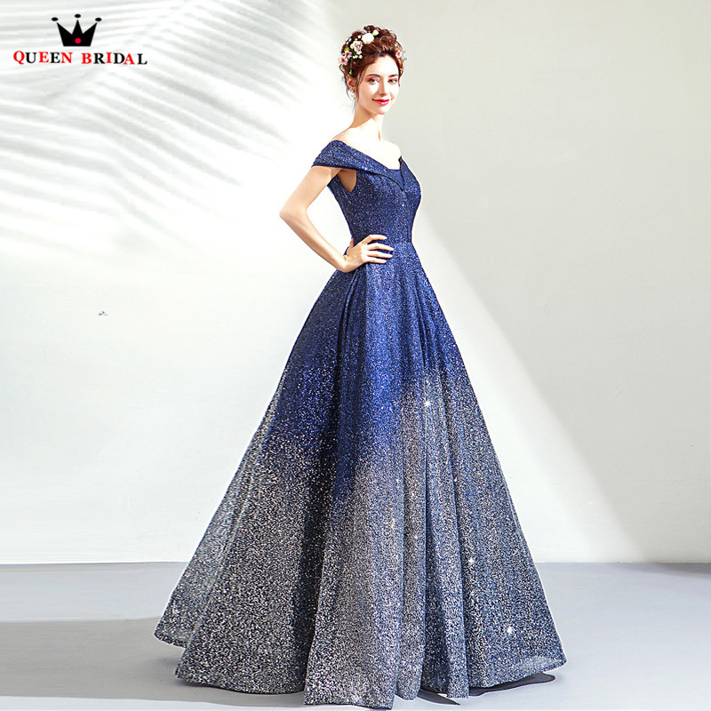 Vintage Dark Blue Evening Dresses 2019 Fashion Ball Gown Cap Sleeve Sequin Tulle Party Gowns Dress